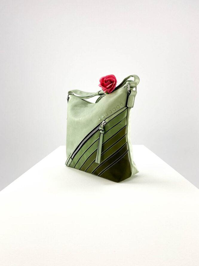 geantă damă verde casual din piele ecologică