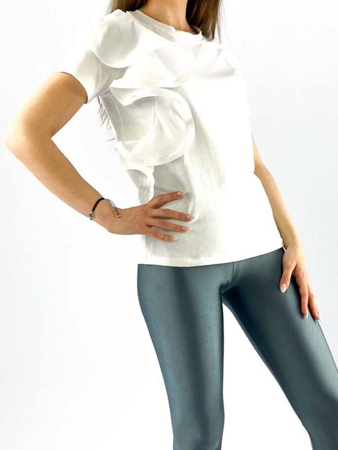 tricou damă alb din bumbac cu volănaș,