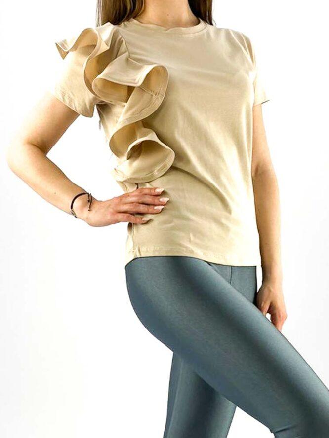 tricou damă beige din bumbac cu volănaș,