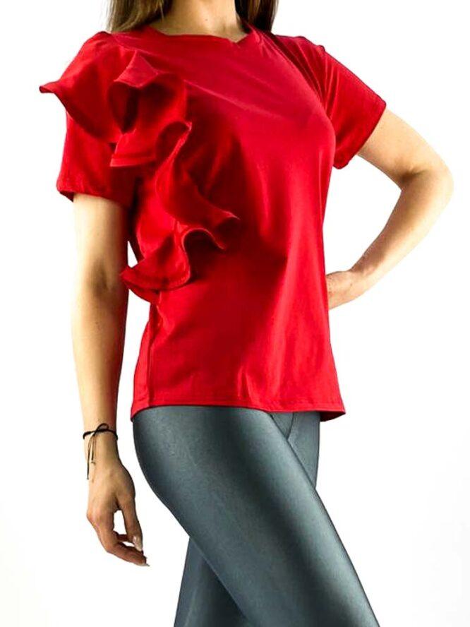 tricou damă roșu din bumbac cu volănaș,