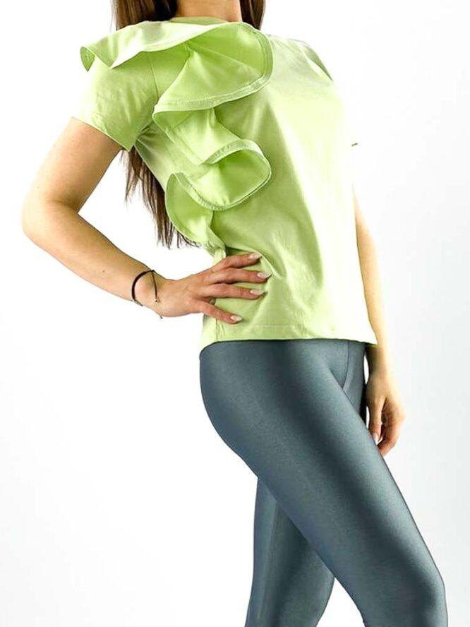 tricou damă verde din bumbac cu volănaș,