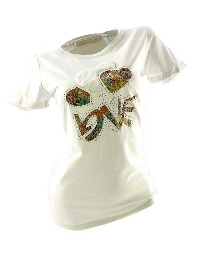 tricou damă alb din bumbac cu inimă,
