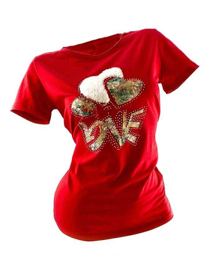 tricou damă roșu din bumbac cu inimă,