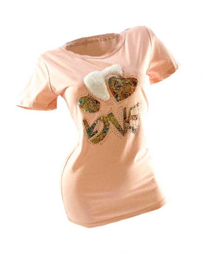 tricou damă roz din bumbac cu inimă,