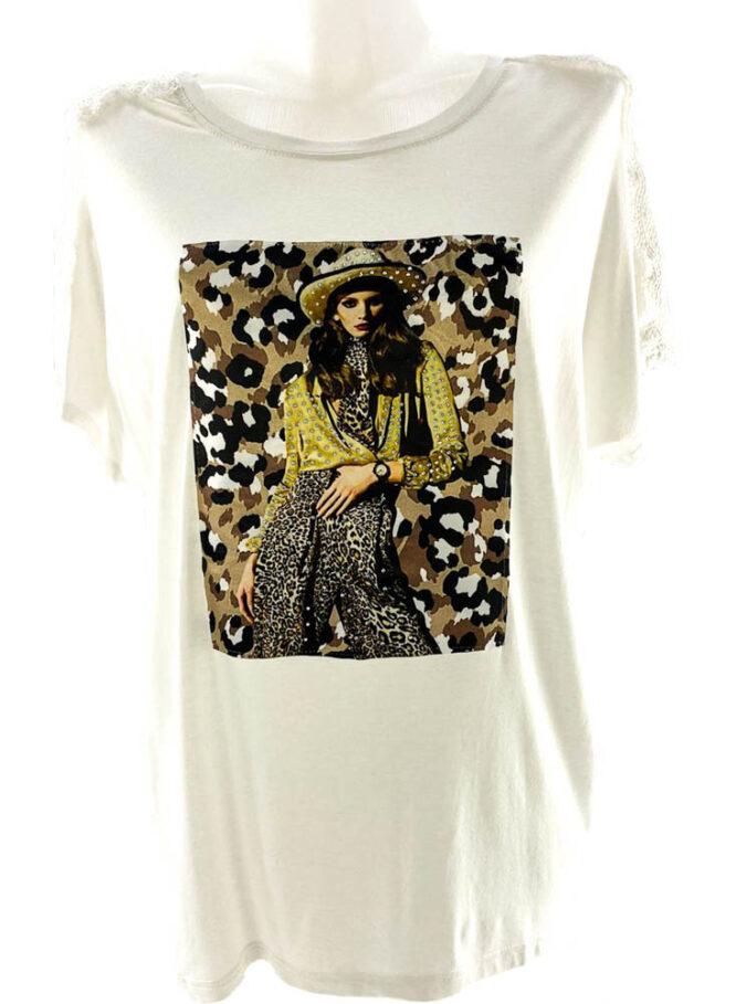 tricou damă alb lejer cu imprimeu animal print și dantelă,