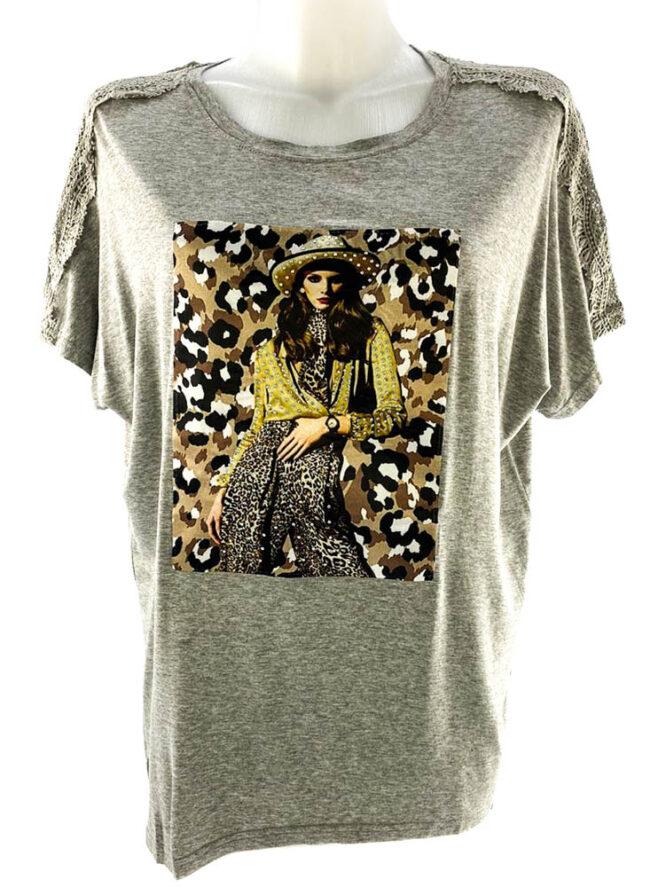 tricou damă gri lejer cu imprimeu animal print și dantelă,