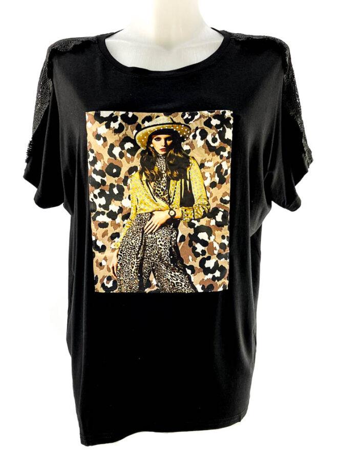 tricou damă negru lejer cu imprimeu animal print și dantelă,