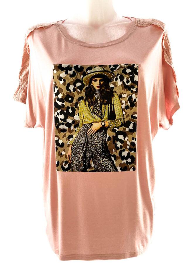 tricou damă roz lejer cu imprimeu animal print și dantelă,