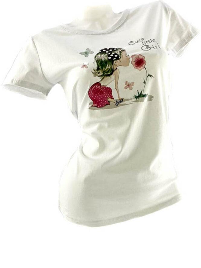 tricou damă alb din bumbac cu imprimeu vesel,