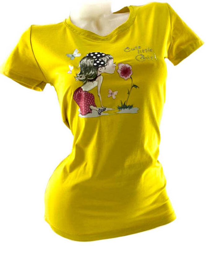 tricou damă galben din bumbac cu imprimeu vesel,