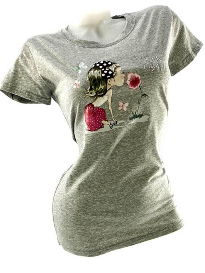tricou damă gri din bumbac cu imprimeu vesel,