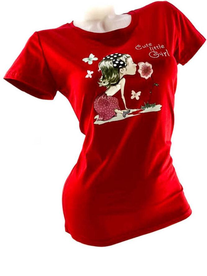 tricou damă roșu din bumbac cu imprimeu vesel,