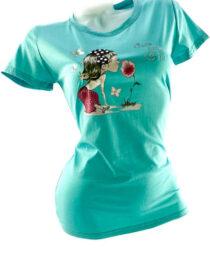 tricou damă turquoise din bumbac cu imprimeu vesel,