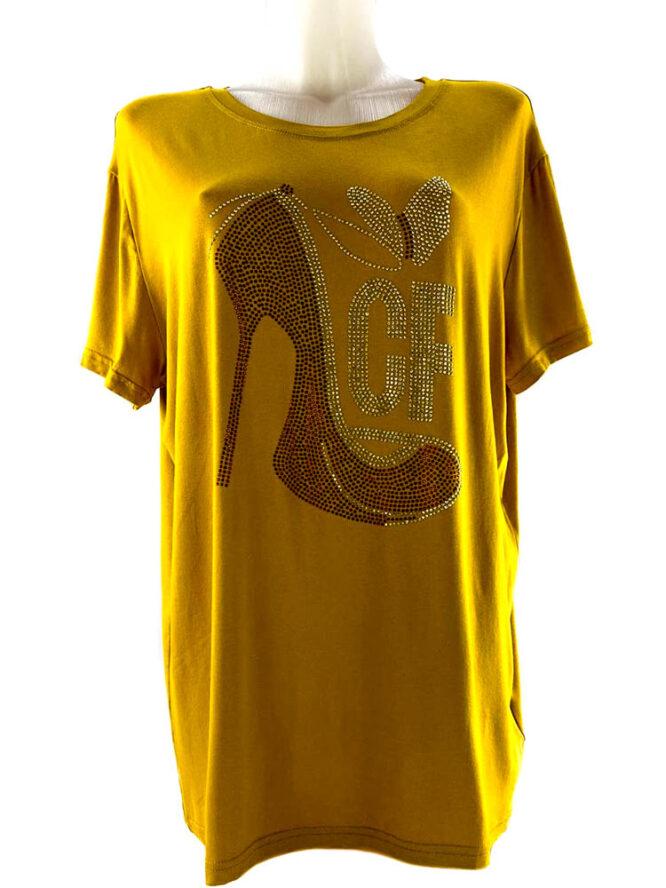 tricou damă galben larg cu pietre,
