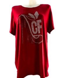 tricou damă roșu larg cu pietre,