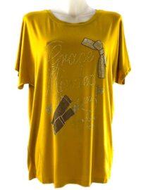 tricou damă galben lejer cu pietre,