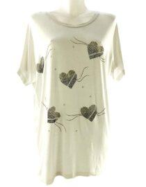 tricou damă alb larg cu inimă,