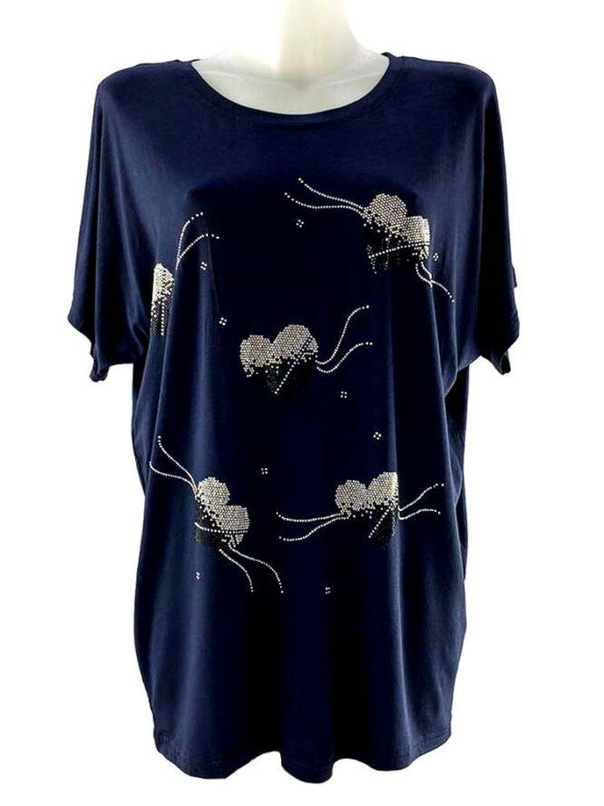 tricou damă bleumarin larg cu inimă,