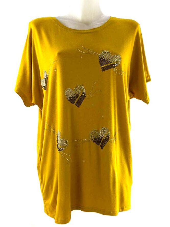 tricou damă galben larg cu inimă,