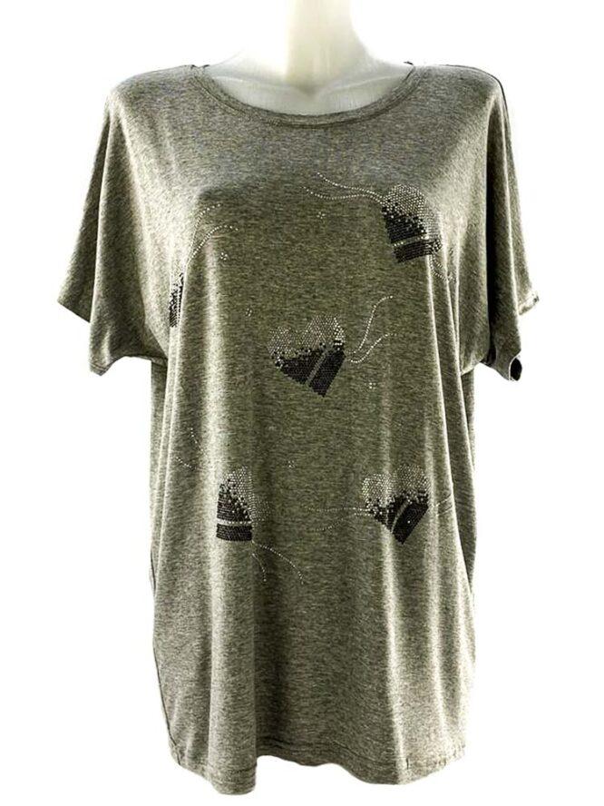 tricou damă gri larg cu inimă,