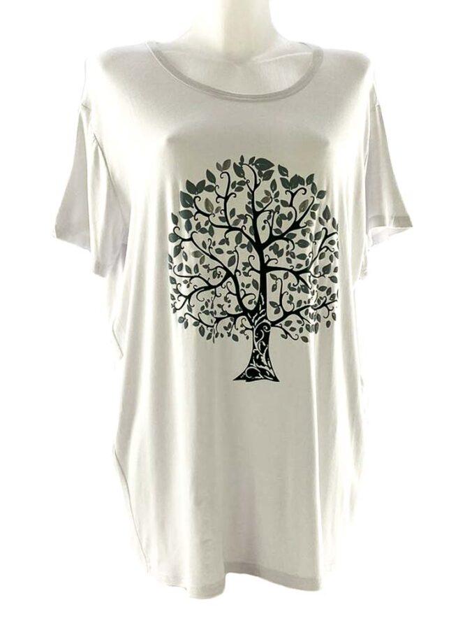 tricou damă alb cu arbore larg,