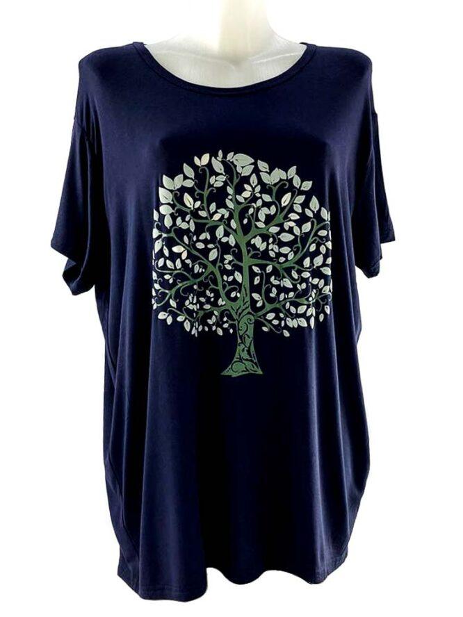 tricou damă bleumarin cu arbore larg,