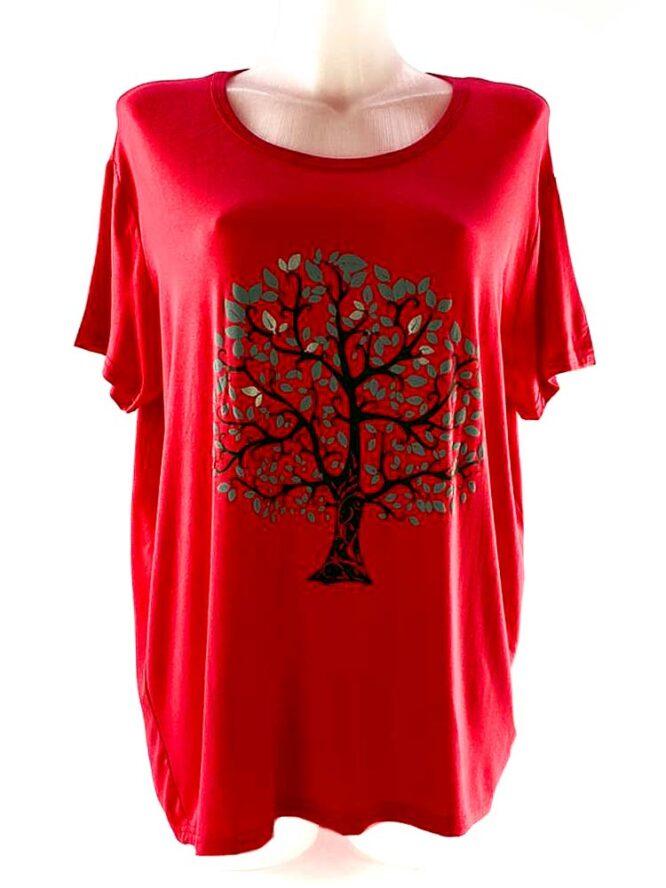 tricou damă corai cu arbore larg,