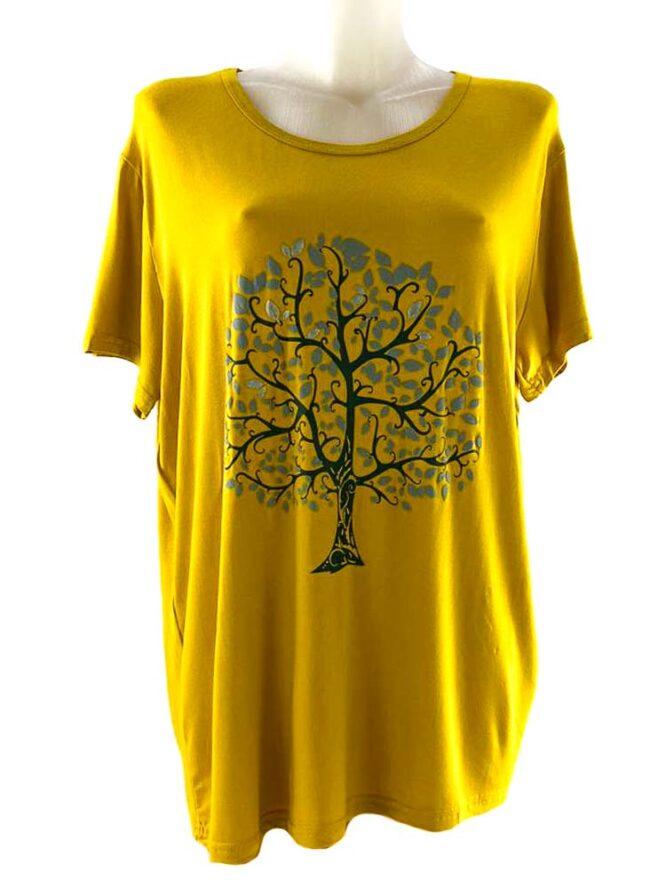 tricou damă galben cu arbore larg,