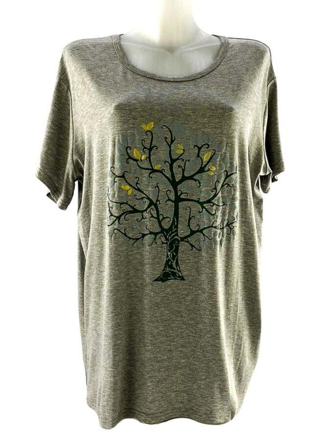 tricou damă gri cu arbore larg,
