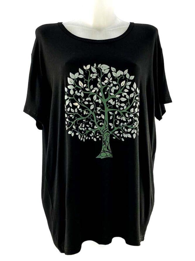 tricou damă negru cu arbore larg,