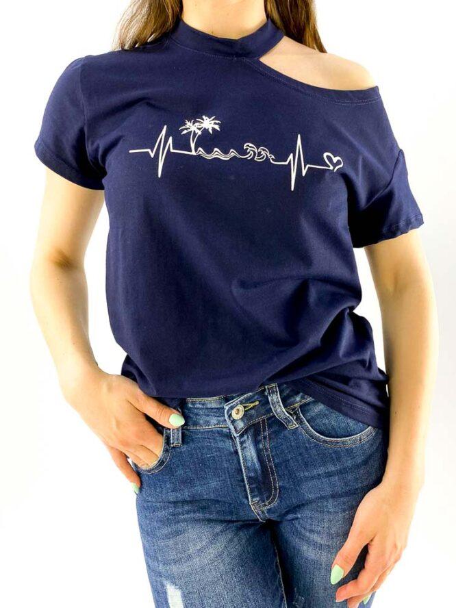 tricou damă bleumarin inscripționat cu umăr gol,