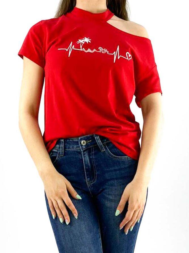 tricou damă roșu inscripționat cu umăr gol,