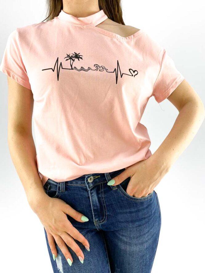 tricou damă roz inscripționat cu umăr gol,