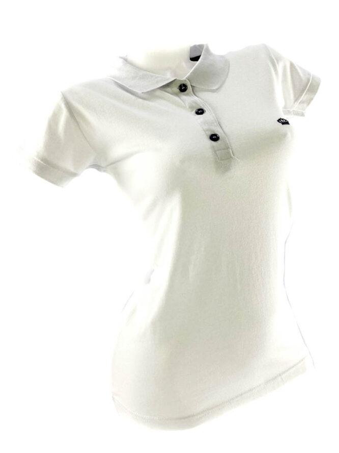 tricou damă polo alb din bumbac,