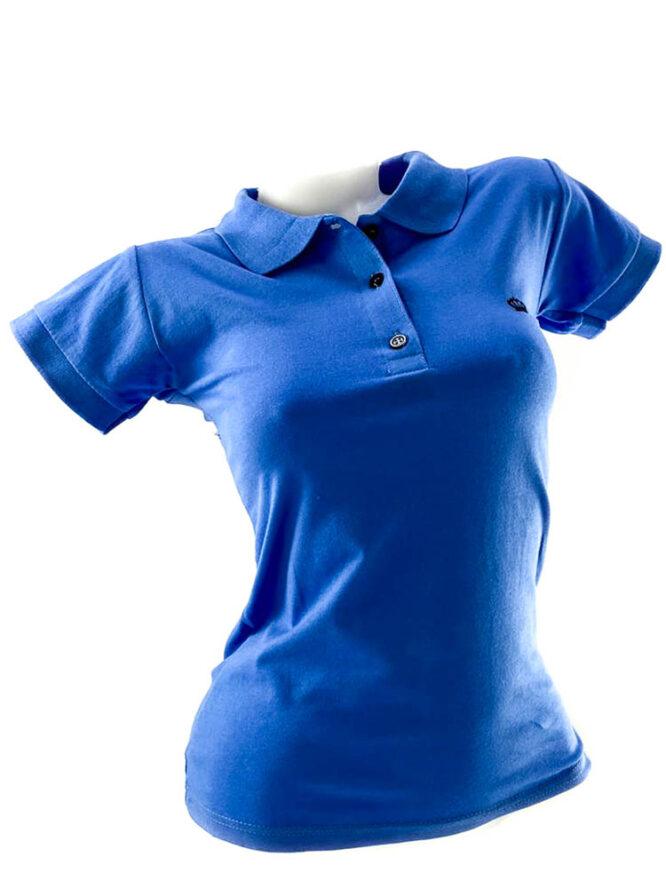 tricou damă polo albastru din bumbac,