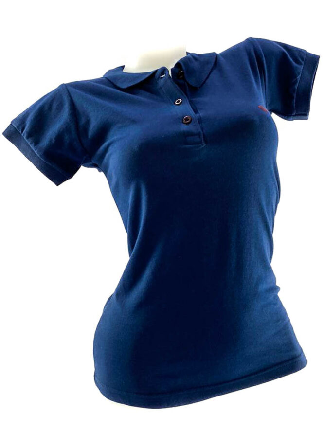 tricou damă polo bleumarin din bumbac,