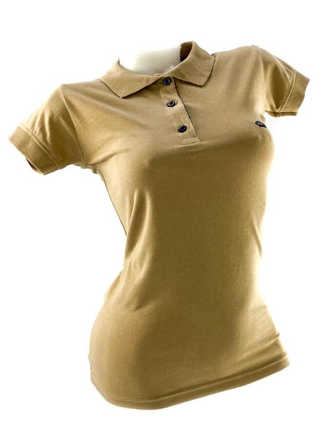 tricou damă polo beige din bumbac,