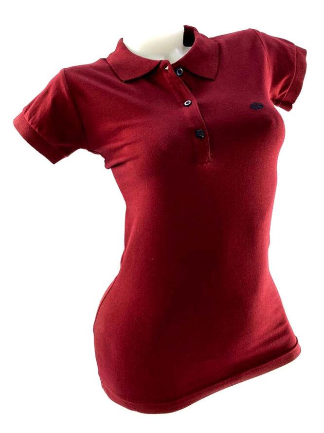 tricou damă polo bordo din bumbac,