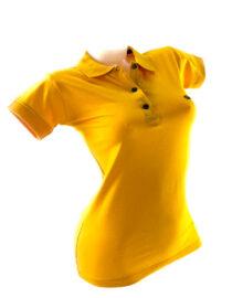 tricou damă polo galben muștar din bumbac,