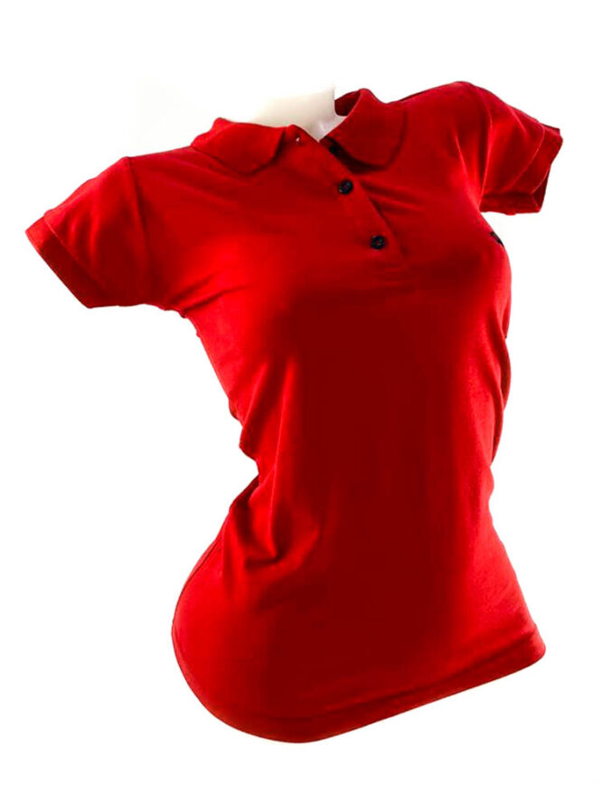 tricou damă polo roșu din bumbac,