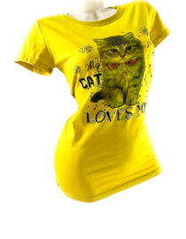 tricou damă galben cu pisică din bumbac,