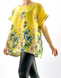 bluză damă galbenă lejeră cu flori,