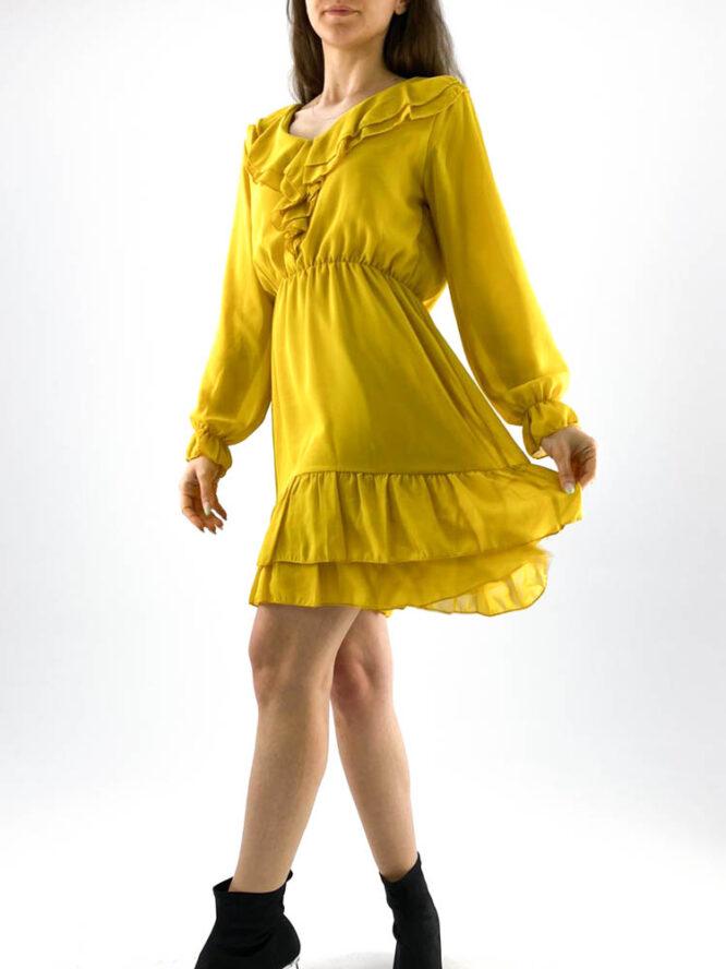 rochia damă galben muștar din voal mini cu volane,