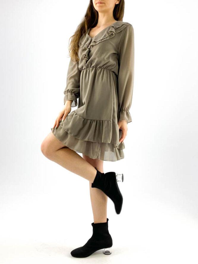 rochia damă gri din voal mini cu volane,