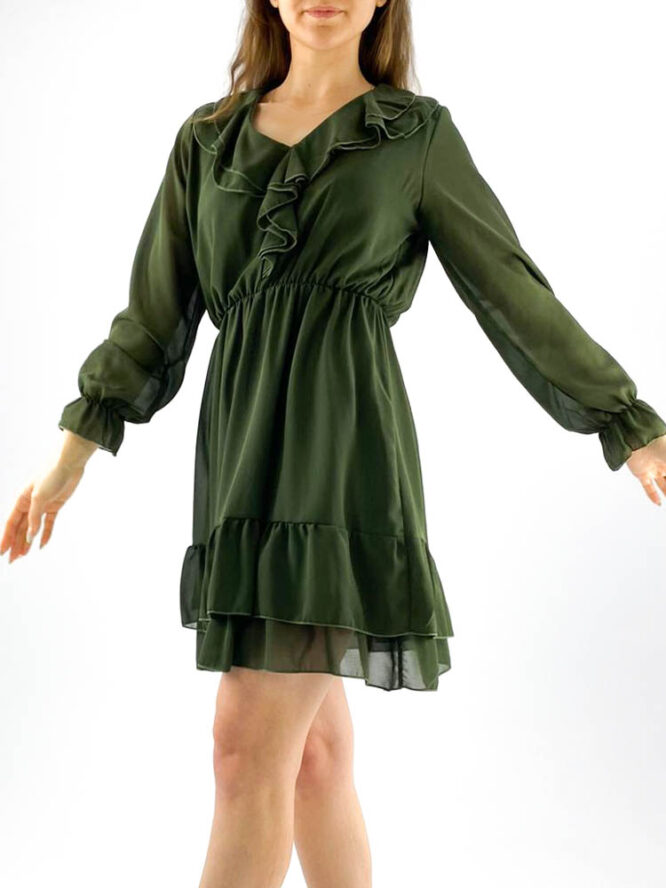 rochia damă kaki din voal mini cu volane,