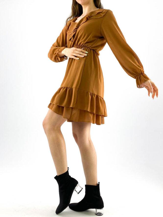rochia damă maro din voal mini cu volane,