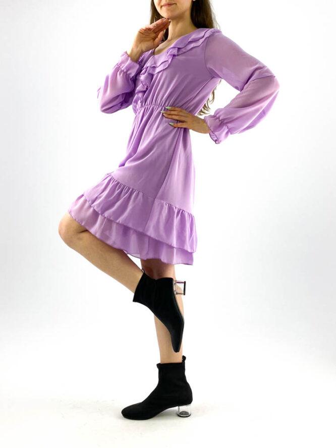 rochia damă mov din voal mini cu volane,
