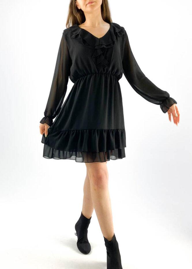 rochia damă neagră din voal mini cu volane,