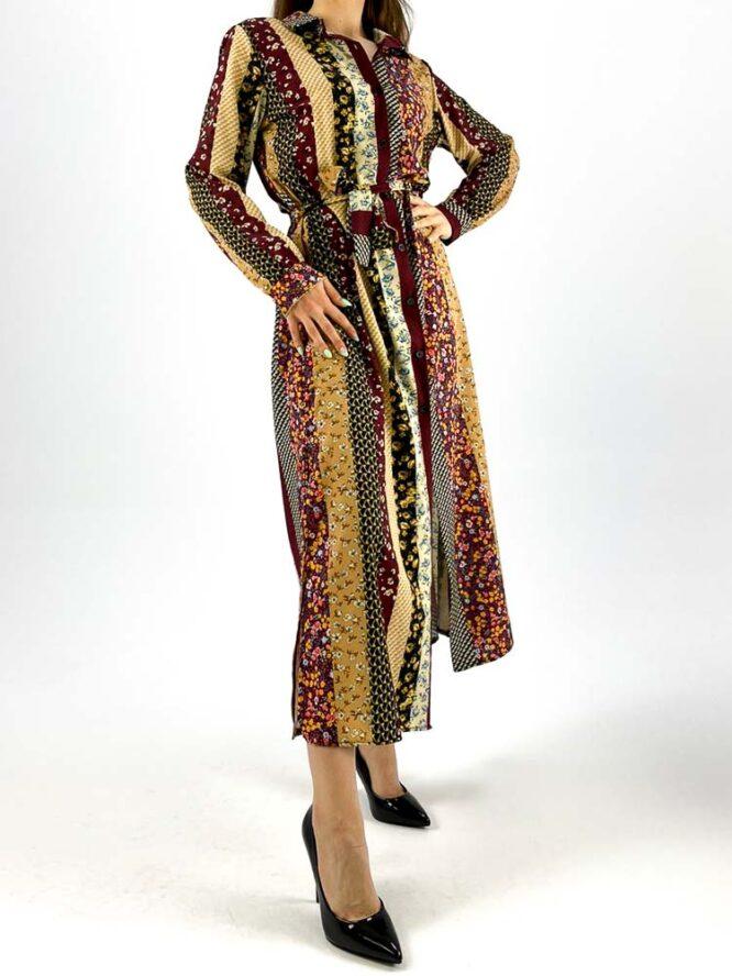 rochie damă bordo lungă cu nasturi,