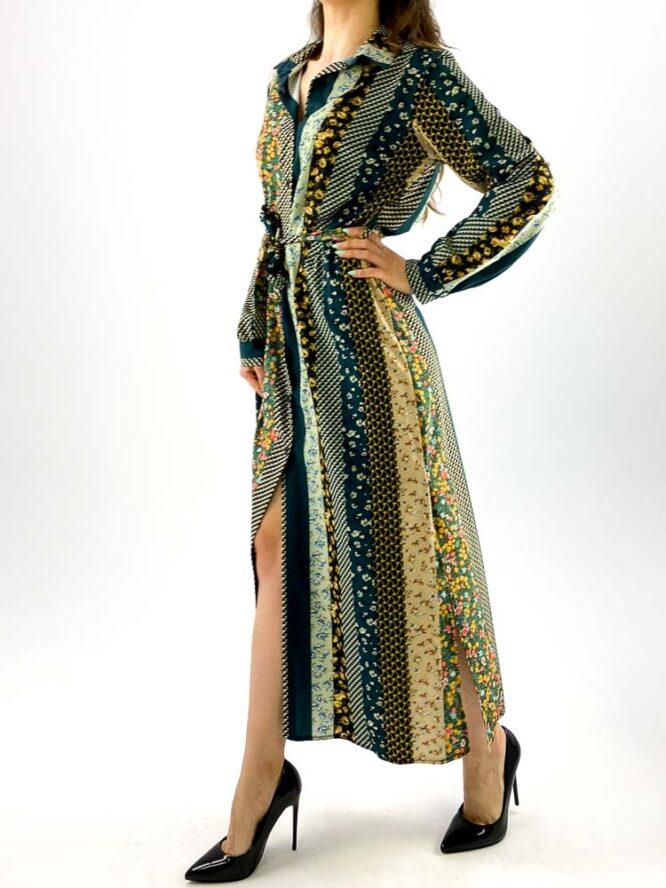 rochie damă verde lungă cu nasturi,